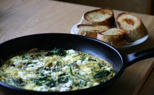 Mushroom, Spinach and Goat Cheese Fritatta