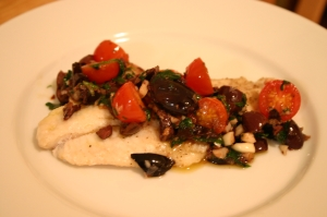 Spicy Sauteed Fish with Olives & Cherry Tomatoes