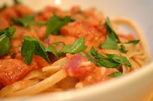 Pasta with Tomatoes, Herbs and Cream
