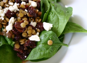 Spinach Salad with Lentils and Tart Cherry Vinaigrette