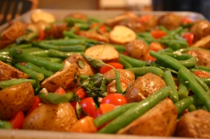 Warm New Potatoes, Cherry Tomatoes, and Green Beans with Basil