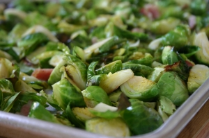 Roasted Brussel Sprouts with Garlic and Pancetta