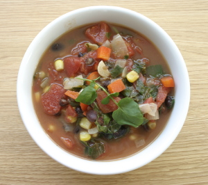 Black Bean, Tomato, Corn and Greens Soup