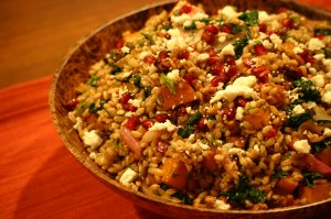 Farro Salad with Roasted Butternut Squash, Toasted Walnuts, Greens and Balsamic-Walnut Vinaigrette