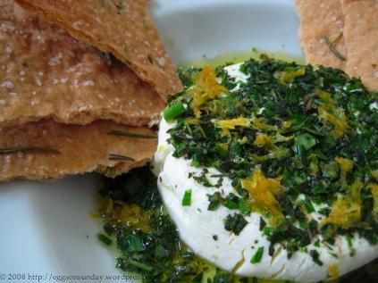 ... -Marinated Goat Cheese with Crisp Rosemary Flatbread | eggs on sunday
