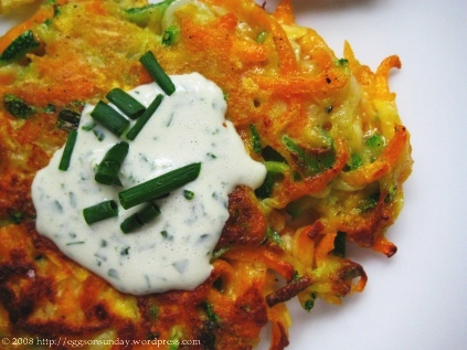 Summer Vegetable Pancakes with Basil Chive Cream   eggs on ...
