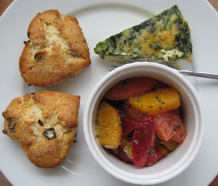 Honeyed Citrus Cranberry Scones * Chard, Bacon & Cheddar Quiche * Citrus Salad with Mint Sugar